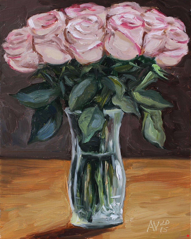 Pink roses in a crystal vase original oil painting by aleksey pink roses in a crystal vase reviewsmspy