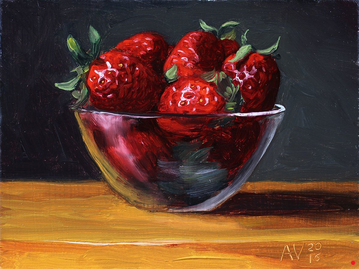 Strawberries In A Glass Bowl Original Oil Painting By Aleksey