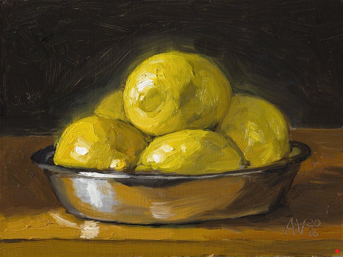 24 Hours Of Lemons >> Oil still life painting demo Lemons in a metal bowl by Aleksey Vaynshteyn